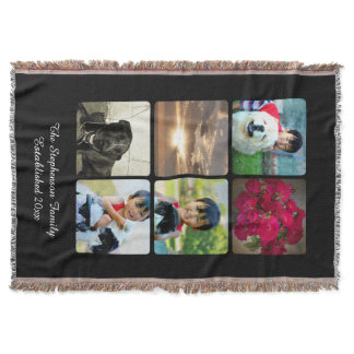 Custom 6 Photo Collage Vertical Mosaic Picture Throw Blanket