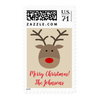 Custom 70 cent Merry Christmas reindeer stamps