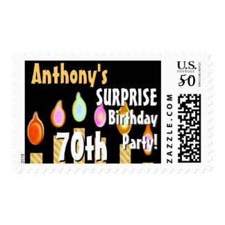 CUSTOM 70th - 79th Birthday Party Stamp - GOLD