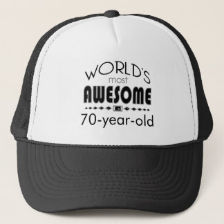 Custom 70th Birthday Celebration World Best Black Trucker Hat