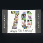 """Custom 70th Birthday Party Photo Collage Banner<br><div class=""""desc"""">Create your own photo collage banner for a 70th Birthday Party. The template is set up for you to add your custom name or wording and your favorite photos. Your photos will automatically appear as a photo collage in the shape of the number 70. The banner has dark grey borders...</div>"""