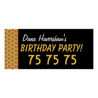 Custom 75th Birthday or Any Year Gold Stars Poster