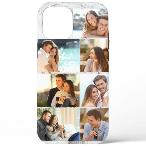 Custom 7 Photo Collage Grey Marble iPhone 12 Pro Max Case