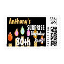 CUSTOM 80th - 89th Birthday Party Stamp - GOLD