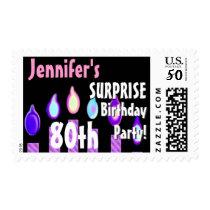 CUSTOM 80th - 89th Birthday Party Stamp - PURPLE