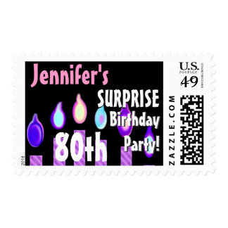 CUSTOM 80th - 89th Birthday Party Stamp - PURPLE