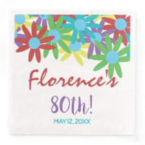 Custom 80th Birthday Floral Paper Dinner Napkins