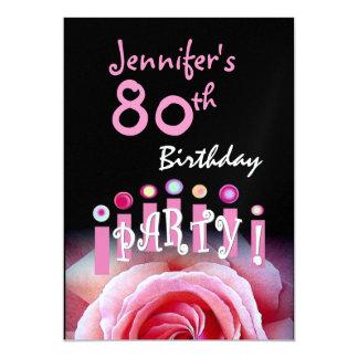 Custom 80th Birthday Party Invitation Pink Candles