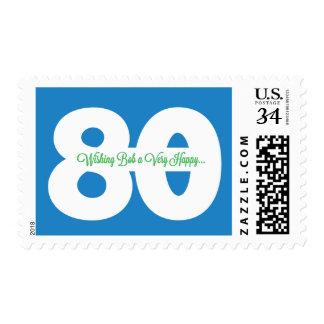 Custom 80th happy birthday to Bob stamps