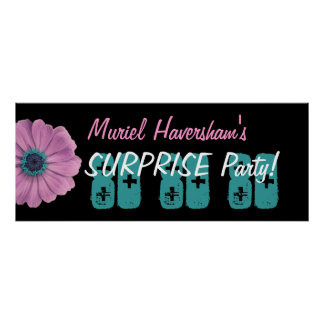 Custom 80th Surprise Birthday Party Pink Daisy Poster