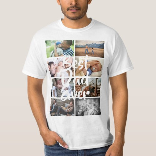 Custom 8 photo collage best dad ever picture DIY T_Shirt