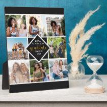 Custom 8 Photo Grid Collage Gold Graduate Plaque
