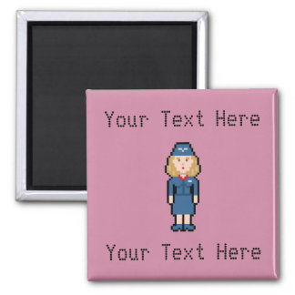 Custom 8bit Flight Attendant Magnet