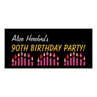 Custom 90th Birthday or Any Year Pink Candles V2 Poster