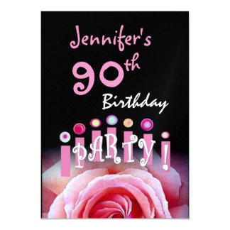 "Custom 90th Birthday Party Invitation Pink Candles 5"" X 7"" Invitation Card"