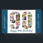 "Custom 90th Birthday Party Photo Collage Banner<br><div class=""desc"">Create your own photo collage banner for a 90th Birthday Party. The template is set up for you to add your custom name or wording and your favorite photos. Your photos will automatically appear as a photo collage in the shape of the number 90. The banner has ocean blue borders...</div>"