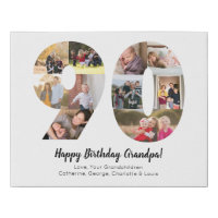 Custom 90th Number Photo Collage Custom Greeting Faux Canvas Print