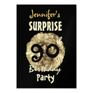 "Custom 90th SURPRISE Birthday Party Invitation 5"" X 7"" Invitation Card"