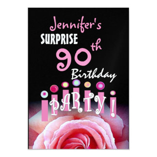 Custom 90th SURPRISE Birthday Party Metallic Card