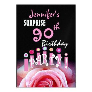 Custom 90th SURPRISE Birthday Party Metallic 5x7 Paper Invitation Card
