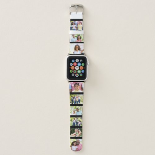 Custom 9 Photo Collage Picture Strip Black Apple Watch Band