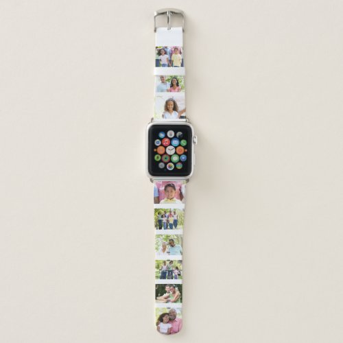 Custom 9 Photo Collage Picture Strip White Apple Watch Band