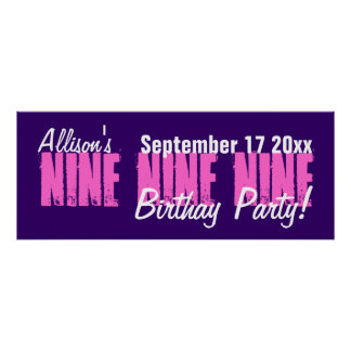 Custom 9 Year Old Birthday Party Banner Print