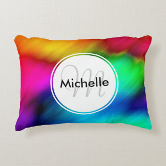 Custom Abstract Colorful Rainbow Tie Dye Accent Pillow