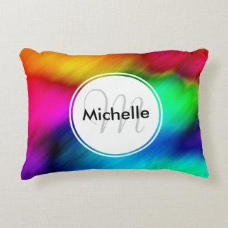Custom Abstract Colorful Rainbow Tie Dye Decorative Pillow