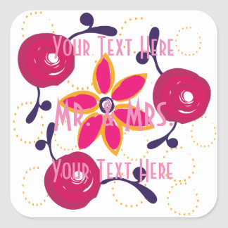 Custom Abstract Pastels Red Roses Pink Wedding Square Sticker