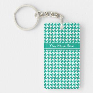 Custom Acrylic Keychain, Emerald Dogtooth Check Double-Sided Rectangular Acrylic Keychain