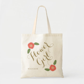 Custom add name personalized flower girl gift budget tote bag