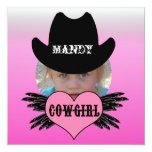 Custom Add Photo Cowgirl Birthday Invitation