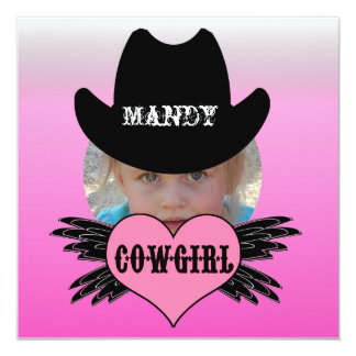 """Custom Add Photo Cowgirl Birthday Invitation 5.25"""" Square Invitation Card"""