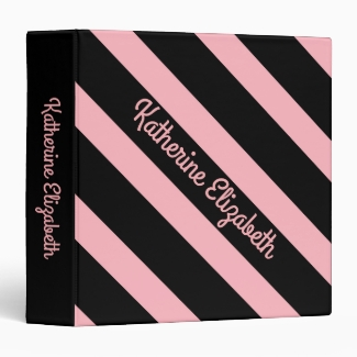 Custom Add your Name Pink and Black Striped