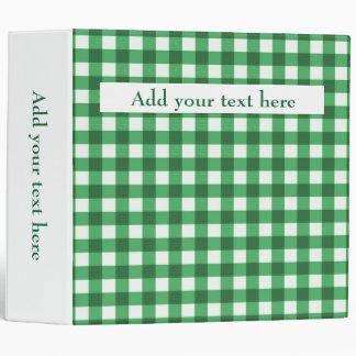 Custom Add Your Text Kelly Green Gingham Pattern Binder