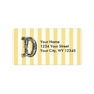 Custom Address Label Monogram Letter D with Yellow