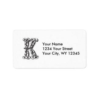 Custom Address Label Monogram Letter K