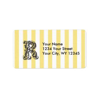 Custom Address Label Monogram Letter R With Yellow