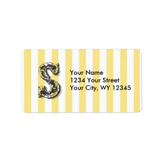 Custom Address Label Monogram Letter S With Yellow