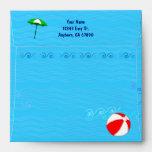 Custom Address Pool Toys Blue Water Waves Envelope