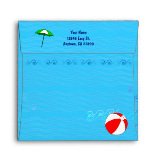 Custom Address Pool Toys Blue Water Waves Envelope