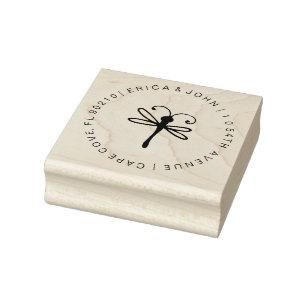 Custom address rubber stamp, Dragonfly Rubber Stamp