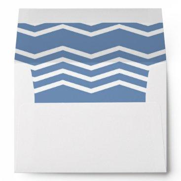 Beach Themed Custom Address Sea Blue Chevron Pattern Liner Envelope