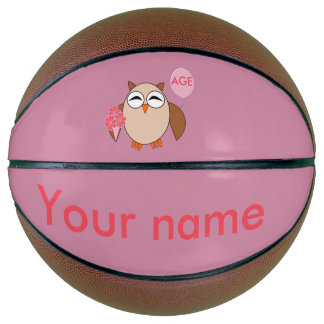 Custom Age Birthday Owl Basketballs Basketball