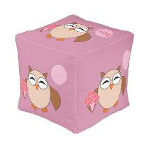 Custom Age Birthday Owl Cube Pouf