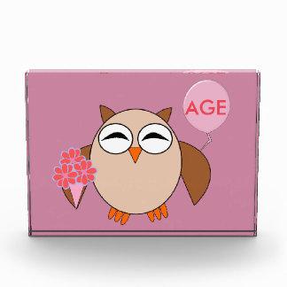 Custom Age Birthday Owl Decoration Acrylic Award