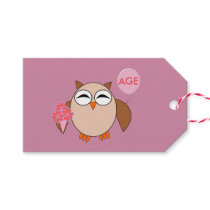 Custom Age Birthday Owl Gift Tags