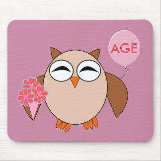 Custom Age Birthday Owl Mousepad