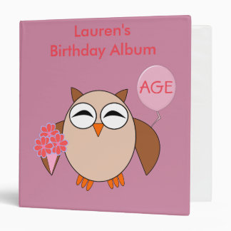 Custom Age Birthday Owl Photograph Album Binder